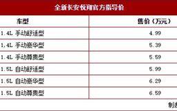 全新長安悅翔正式上市 6款車型/售4.99萬起